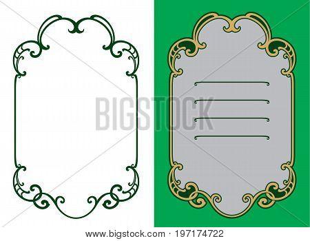 Decorative vintage frame in art nouveau style. Design element. Decoration.