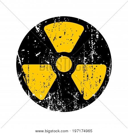 old sign radioactive danger. Shabby retro toxic danger symbol grunge