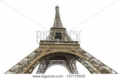 Prospective lower wide view of Tour Eiffel, symbol and icon of Paris. Paris Eiffel Tower isolated on white background and copy space. Paris in France. Europe travel concept.