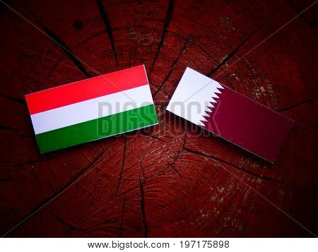 Hungarian Flag With Qatari Flag On A Tree Stump Isolated