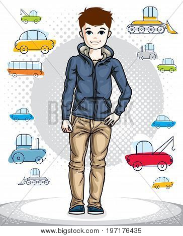 Little boy cute child standing in stylish casual clothes. Vector beautiful human illustration. Childhood lifestyle clip art.