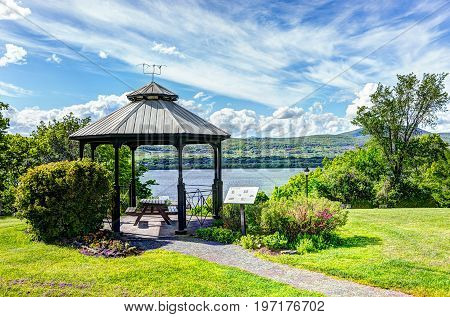 Sainte-famille Park In Summer In Ile D'orleans, Quebec, Canada With Gazebo