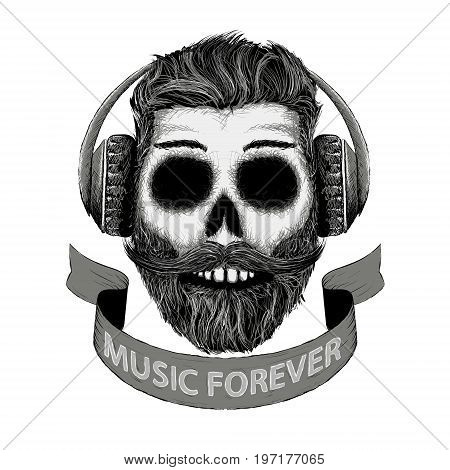 Sketch of human skull with a mustache and beard in headphones. Hipster design print on the t-shirt. Dj music icon in hand drawn style. Stock vector illustration.