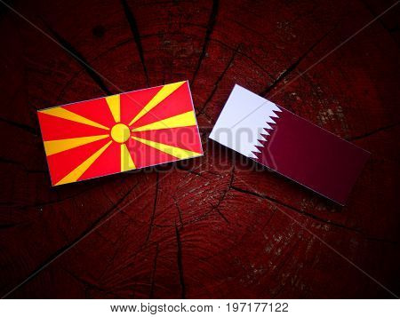 Macedonian Flag With Qatari Flag On A Tree Stump Isolated