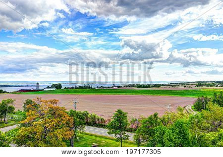 Aerial Cityscape Landscape View Of Farmland In Ile D'orleans, Quebec, Canada
