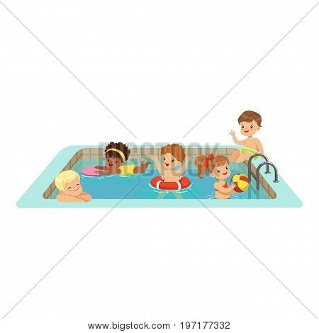 Happy kids having fun in a swimming pool, colorful characters vector Illustration on a white background