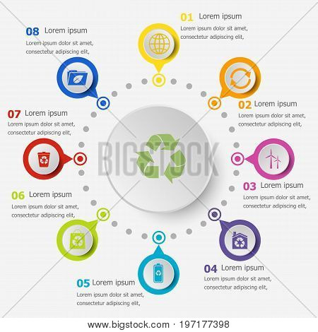 Infographic template with ecology icons, stock vector
