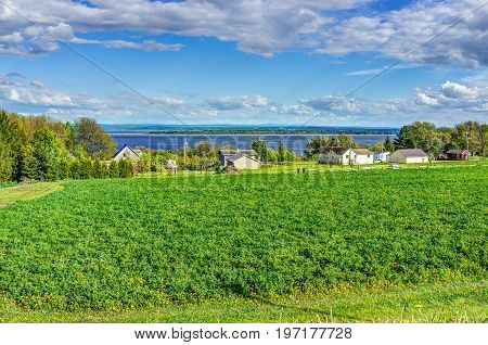 Cityscape landscape view of farmland in Ile D'Orleans Quebec Canada