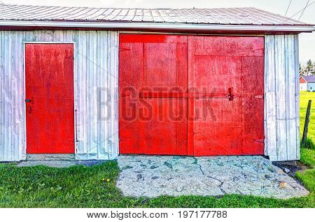 Red Painted Vintage Shed With Doors In Summer Landscape Field In Countryside