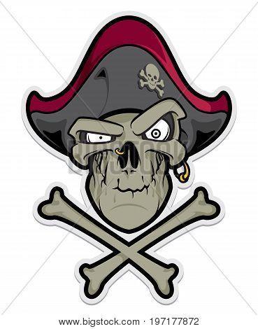 Pirate mascot. Pirate Skull with Hat and Cross Bones