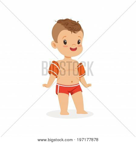 Cute boy with inflatable armbands, kids summer vacation colorful character vector Illustration on a white background