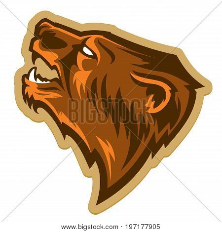 Modern professional logo with grizzly bear for a sport team. Talisman college sports teams. Logotype. Label. Emblem. Mascot.