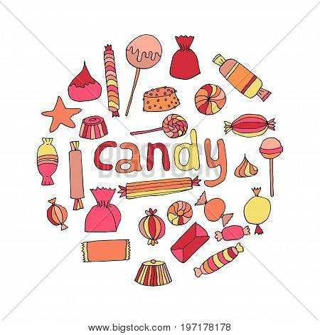 Hand drawn candy set in a circle. Stock vector illustration of sweet food in bright colors isolated on white background.
