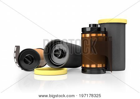 3d rendering of yellow film camera rolls isolated on white background with clipping paths.