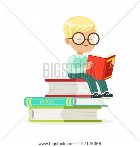 Smart boy sitting on pile of books and reading a book, kid enjoying reading, colorful character vector Illustration on a white background