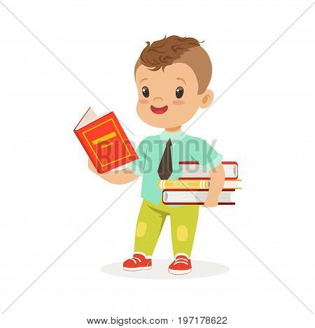 Cute boy reading a book while standing and holding books, kid enjoying reading, colorful character vector Illustration on a white background