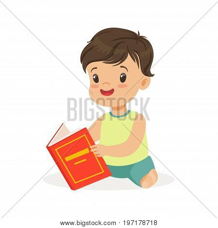 Little boy sitting on the floor and reading a book, kid enjoying reading, colorful character vector Illustration on a white background