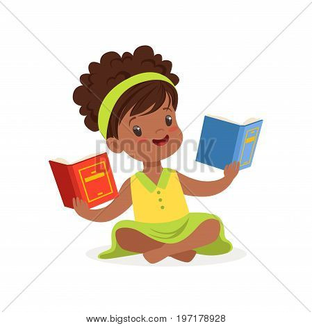 Black beautiful girl sitting on the floor and reading books, kid enjoying reading, colorful character vector Illustration on a white background
