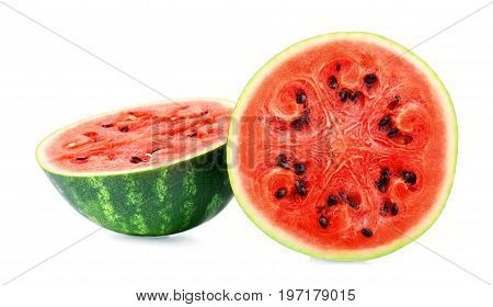 A beautiful bright red watermelon isolated on a white background. Juicy watermelon cut in half. Tasteful and fresh cut watermelon with little black seeds. Organic fruits for healthy summer cocktails.