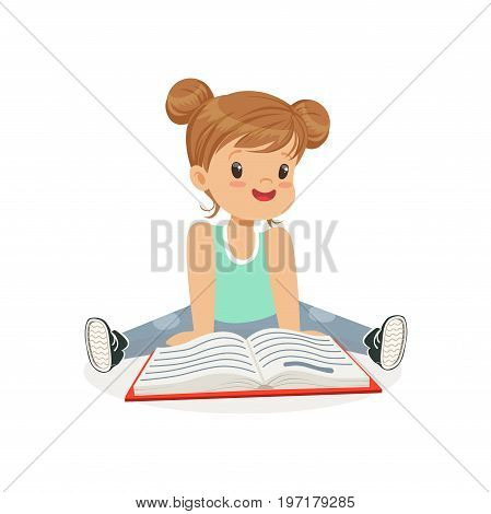 Adorable little girl sitting on the floor and reading a book, kid enjoying reading, colorful character vector Illustration on a white background