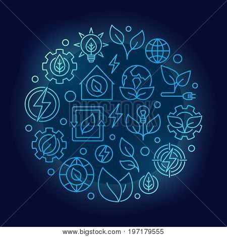 Green energy outline blue illustration. Vector colorful round bio energy concept symbol made with thin line icons on dark background