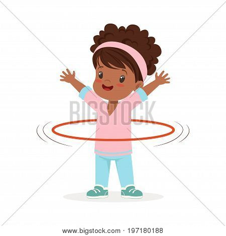 Girl spining a hula hoop around the waist, kid doing sports colorful character vector Illustration on a white background