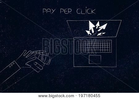 Hand Giving Wallet To A Laptop With Pointer Arrows, Pay Per Click
