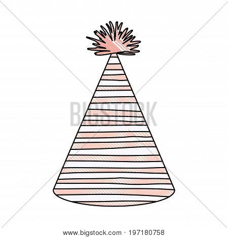 crayon silhouette of pink color party hat with irregular lines decoratives vector illustration