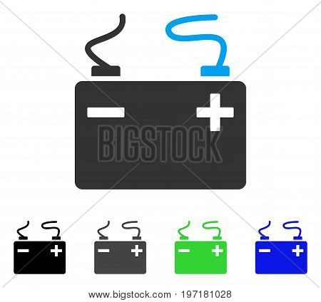 Accumulator flat vector illustration. Colored accumulator gray, black, blue, green icon variants. Flat icon style for application design.