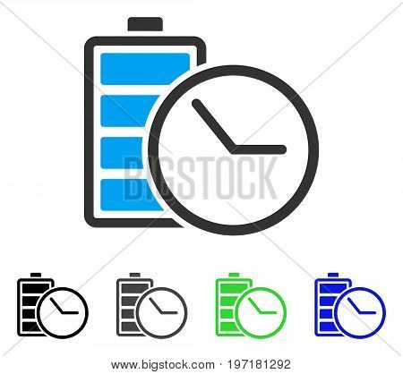 Battery Clock flat vector pictogram. Colored battery clock gray, black, blue, green pictogram variants. Flat icon style for web design.