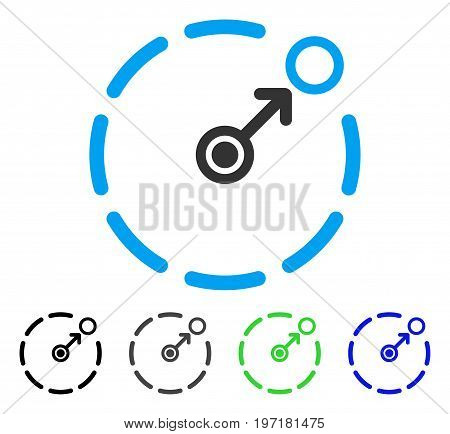 Circular Area Border flat vector illustration. Colored circular area border gray, black, blue, green icon versions. Flat icon style for graphic design.