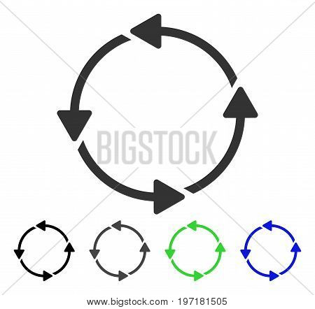 Circular Route flat vector pictogram. Colored circular route gray, black, blue, green pictogram variants. Flat icon style for graphic design.