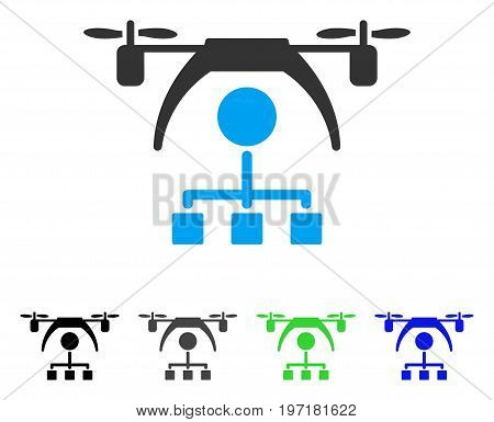 Copter Distribution Scheme flat vector icon. Colored copter distribution scheme gray, black, blue, green icon versions. Flat icon style for graphic design.