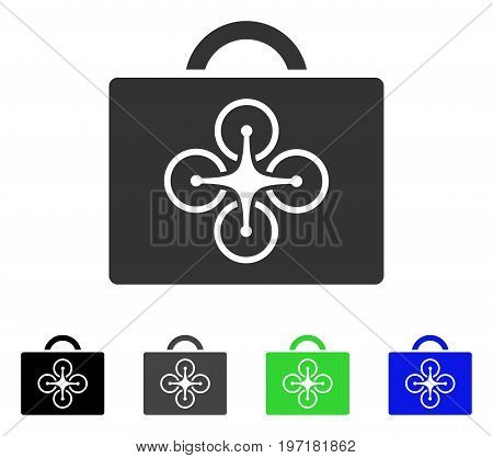 Drone Case flat vector illustration. Colored drone case gray, black, blue, green icon versions. Flat icon style for web design.