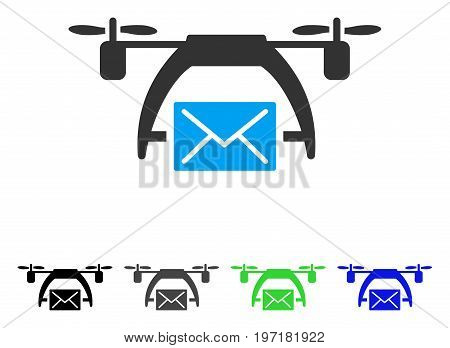 Drone Mail flat vector illustration. Colored drone mail gray, black, blue, green icon versions. Flat icon style for application design.