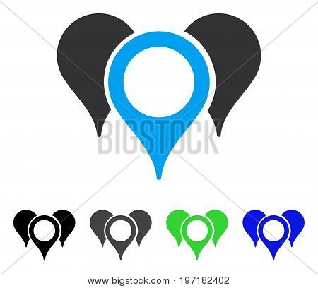Map Markers flat vector pictogram. Colored map markers gray, black, blue, green pictogram variants. Flat icon style for web design.