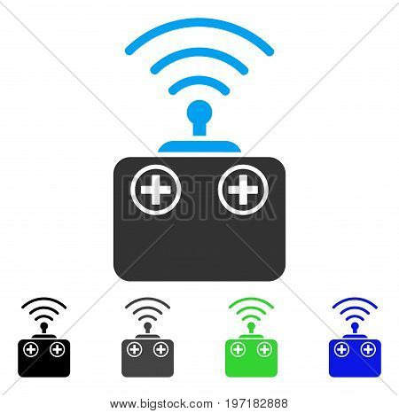 Radio Control Device flat vector pictograph. Colored radio control device gray, black, blue, green icon versions. Flat icon style for application design.