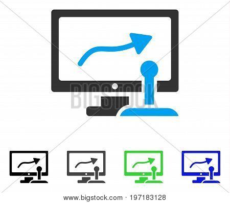 Remote Monitoring flat vector pictogram. Colored remote monitoring gray, black, blue, green pictogram versions. Flat icon style for application design.