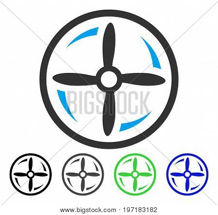Rotating Screw flat vector icon. Colored rotating screw gray, black, blue, green pictogram variants. Flat icon style for graphic design.