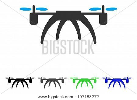 Rotorcraft flat vector pictogram. Colored rotorcraft gray, black, blue, green pictogram variants. Flat icon style for graphic design.