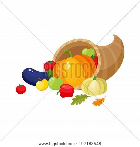 Cornucopia, horn of abundance, autumn harvest, fruits and vegetables, cartoon vector illustration isolated on white background. Cartoon cornucopia, horn of abundance, thanksgiving symbol, decoration