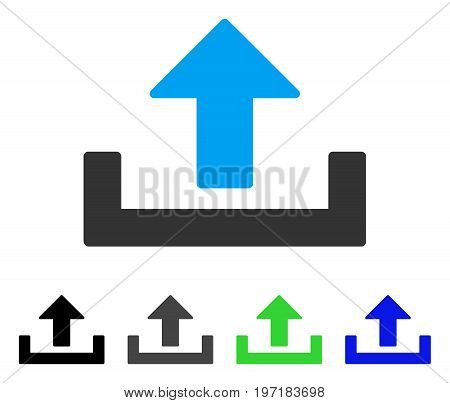 Upload Container flat vector pictogram. Colored upload container gray, black, blue, green icon variants. Flat icon style for application design.