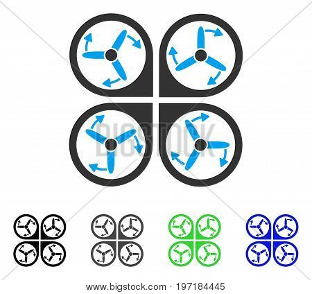 Copter Screws Rotation flat vector pictogram. Colored copter screws rotation gray, black, blue, green icon versions. Flat icon style for application design.