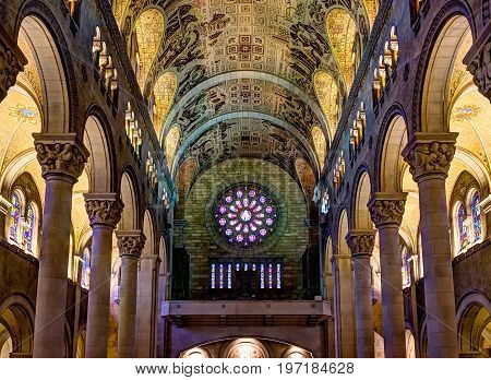 Sainte-anne-de-beaupre, Canada - June 2, 2017: Inside Basilica Of Sainte Anne De Beaupre With Tall C