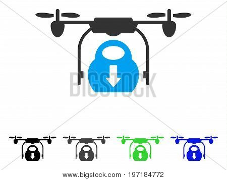 Drone Drop Cargo flat vector pictogram. Colored drone drop cargo gray, black, blue, green pictogram versions. Flat icon style for graphic design.