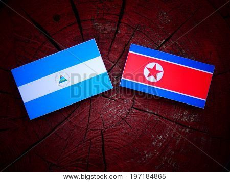 Nicaraguan Flag With North Korean Flag On A Tree Stump Isolated