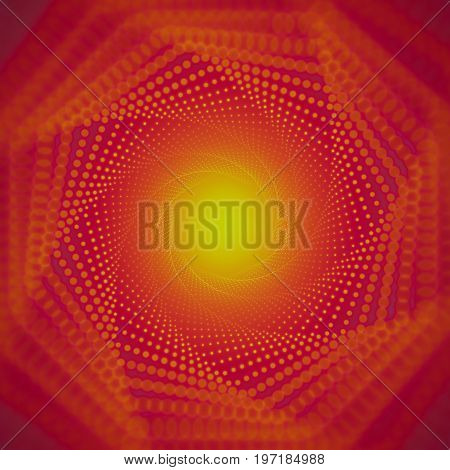 Vector infinite tunnel of shining flares on red background with shallow depth of field. Glowing points form tunnel sectors. Abstract cyber colorful backdrop. Elegant modern geometric wallpaper