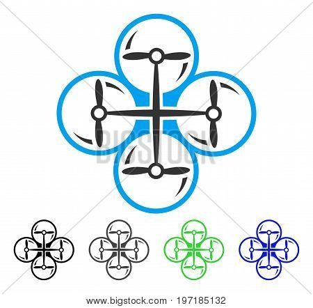 Drone Screws flat vector icon. Colored drone screws gray, black, blue, green icon variants. Flat icon style for application design.