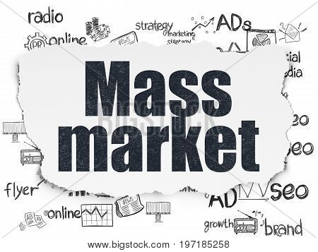 Marketing concept: Painted black text Mass Market on Torn Paper background with  Hand Drawn Marketing Icons