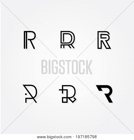 Various Letter R big logo typo pack for your company, six initial logo typo